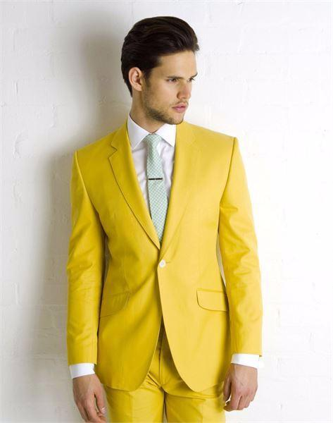 Super Vogue Yellow Wedding Suits For Mens Handsome Groom Tuxedos ...