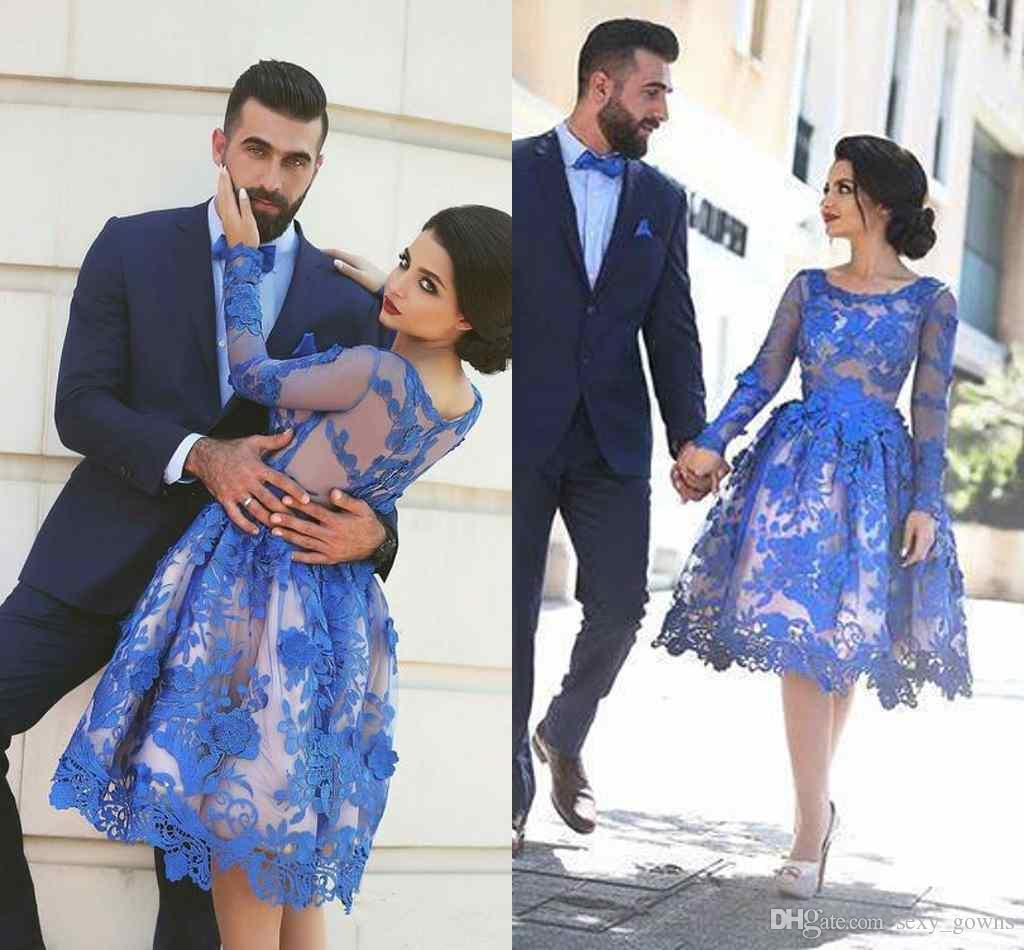 Royal Blue Prom Dresses Long Sleeves Knee Length 3d Floral ...