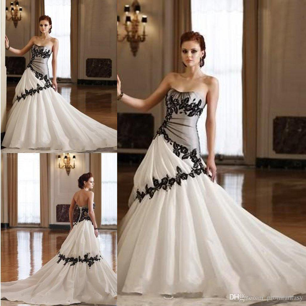 Black N White Wedding Dresses : Strapless gothic wedding dresses white taffeta and black lace