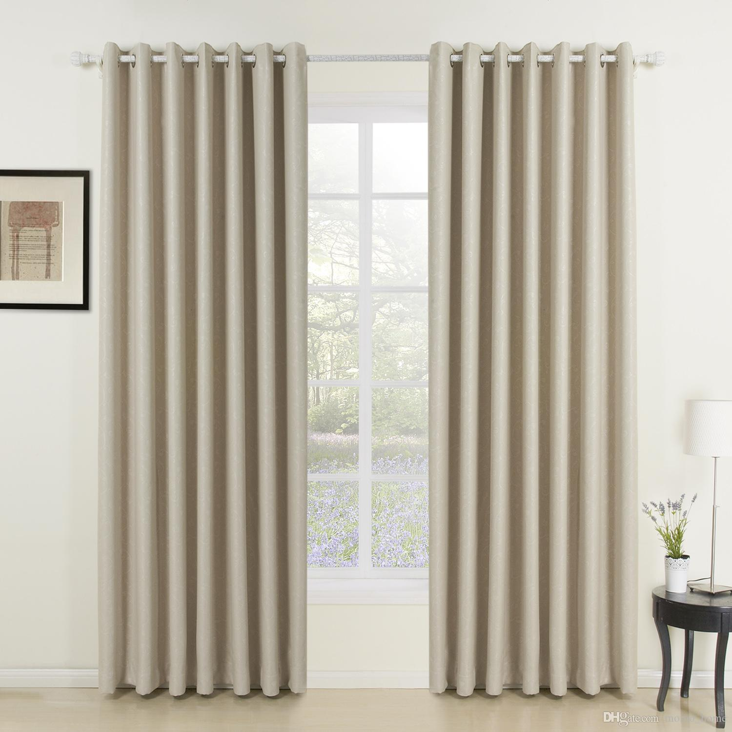 2017 classic ivory solid grommet top blackout curtains