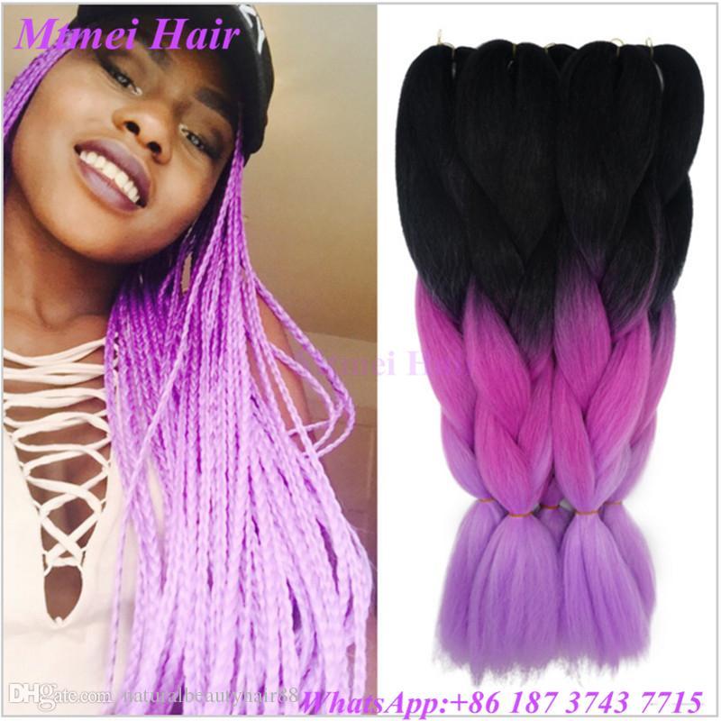 Super Ombre Violet Kanekalon Jumbo Braiding Hair Colors 223939 100G Short Hairstyles For Black Women Fulllsitofus