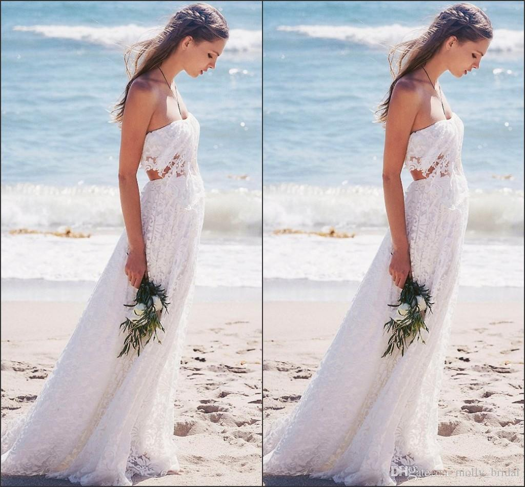 Discount y Lace 2016 Beach Wedding Dresses Two Pieces
