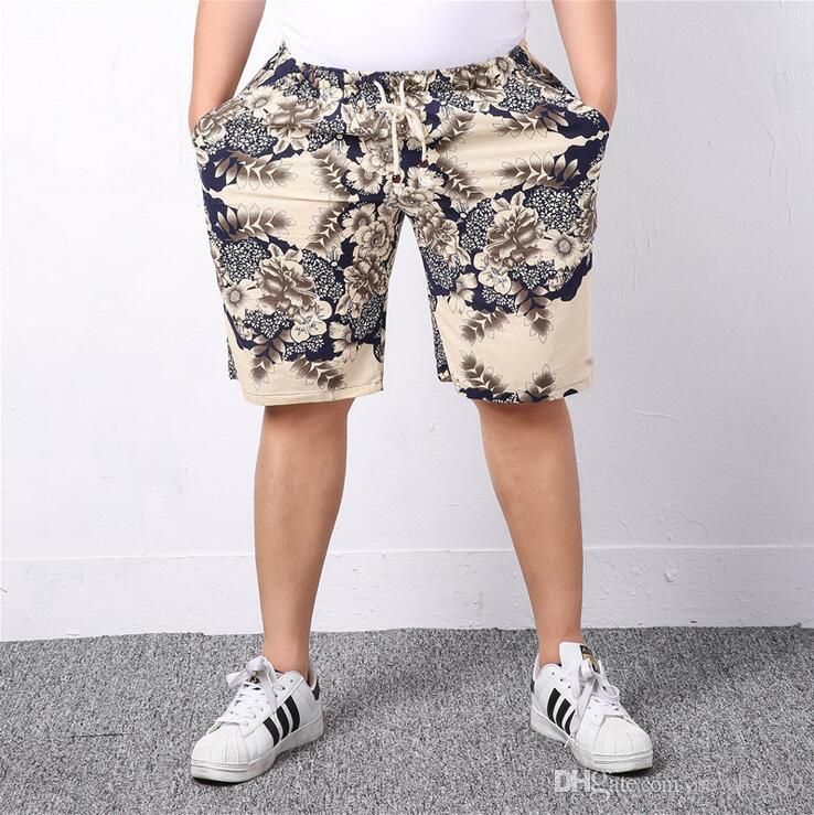 new fancy plus size men's beach pants summer season printed five
