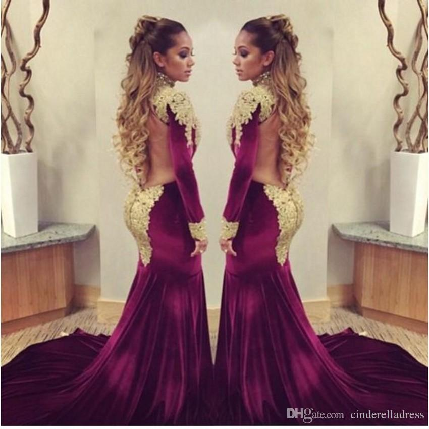 2016 Erica Mena burgundy velvet Mermaid Celebrity Red Carpet dresses golden sequins applique high neck backless evening prom gowns BO7424