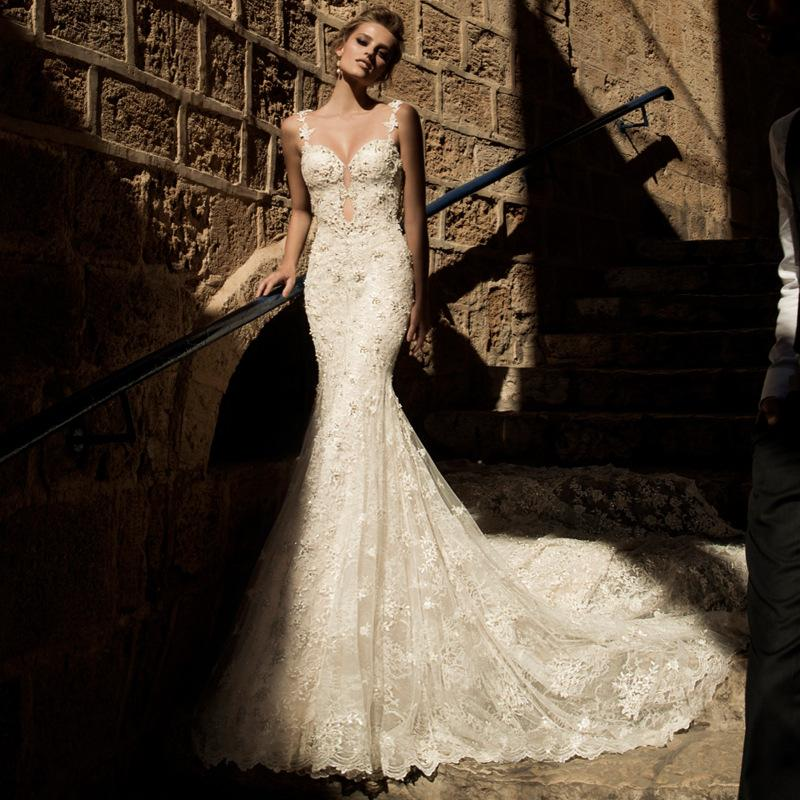 Open Back Lace Mermaid Wedding Dress with Pearls Chain Spaghetti ...