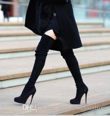 Fashion Shoes Women Thigh High Boots Black Suede High Heels Boots ...