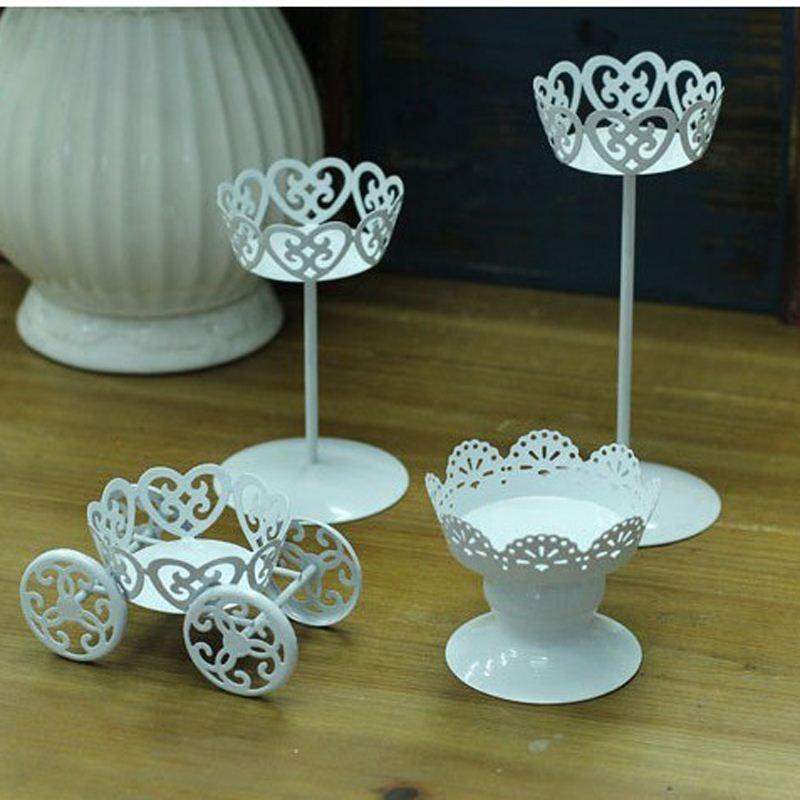 White elegant crystal wedding centerpiece metal