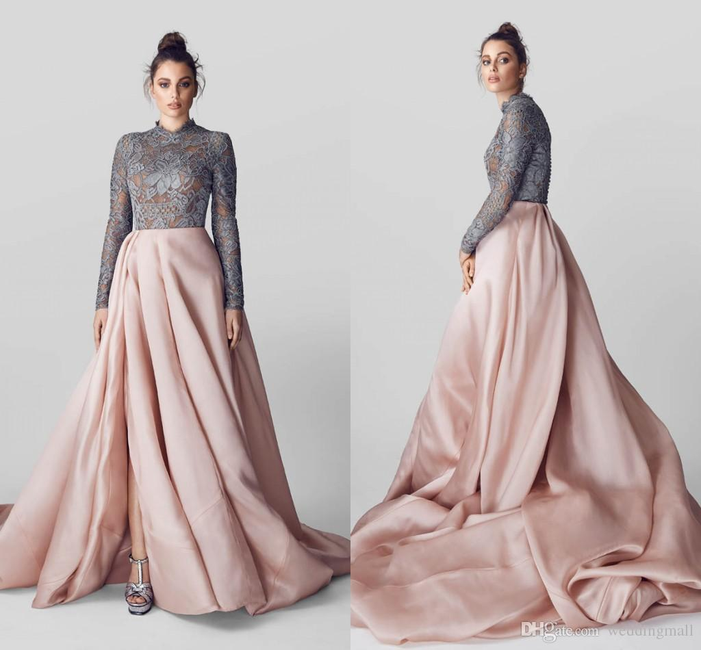 Lace Con Ilio 2017 Arabic Evening Dresses High Neck Long Sleeves ...