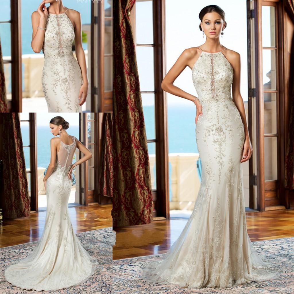 Mermaid Wedding Dresses Lace Spaghetti Strap Sheer Back