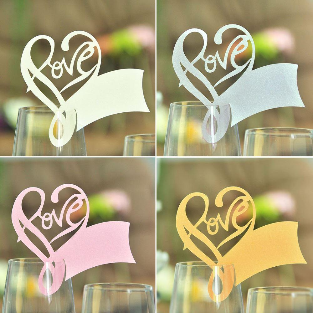 Hot Selling /Pack White Table Mark Wine Glass Love Name Place ...