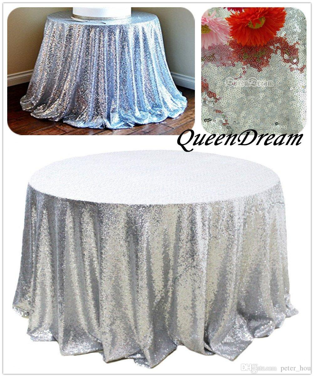 132'' Round Rose Gold Sequin Table Cloth For Wedding Cheap ...