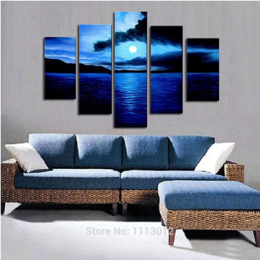 Oil Painting For Living Room 2017 Cherry Blue Rock Dark Clouds Moon Palm Oil Painting On Canvas