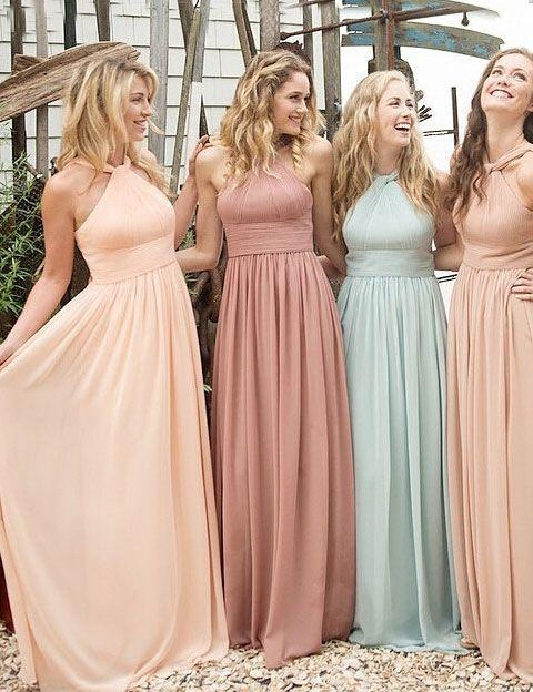 Halter Two Toned Bridesmaid Dresses Best 2016 Aqua Peach Chiffon ...