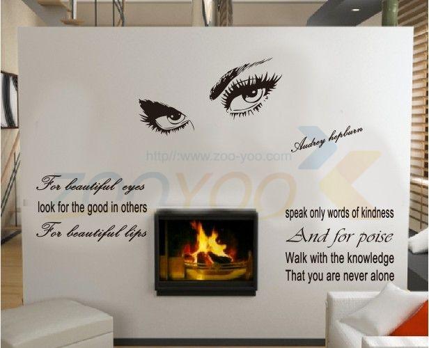 Audrey Hepburn Beautiful Eyes Home Decoration Vinyl Wall Sticker - Wall decals eyes