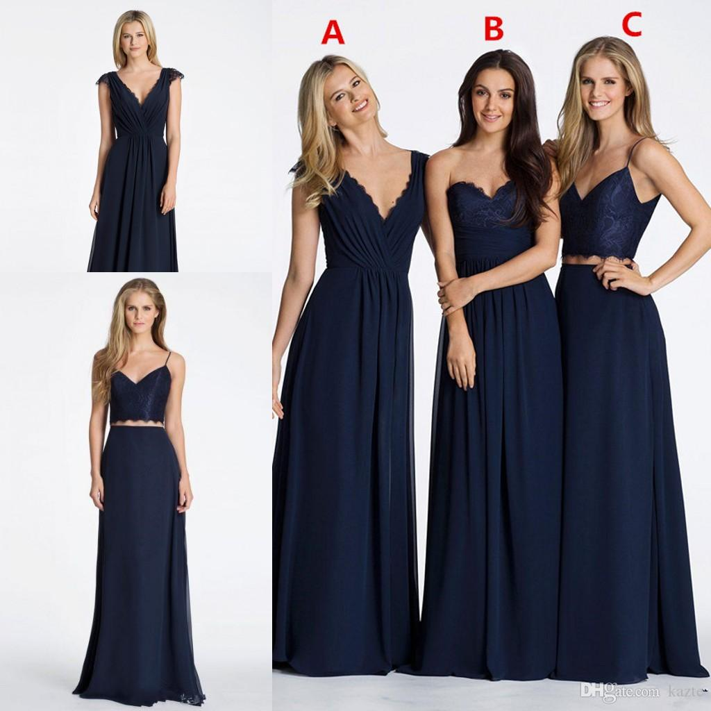 Vintage country navy blue a line chiffon long bridesmaid dresses vintage country navy blue a line chiffon long bridesmaid dresses cheap 2017 hayley paige sweetheart two pieces junior bridesmaids dresses mermaid wedding ombrellifo Image collections