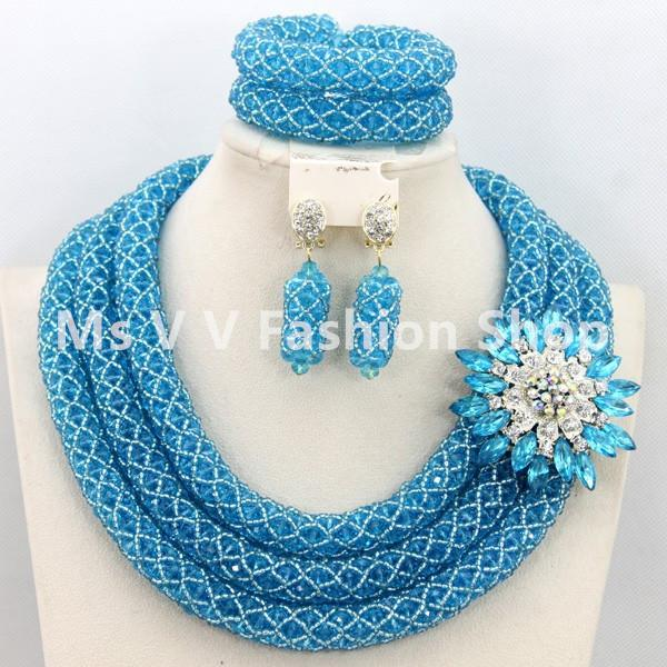 2016 new design fabulous sky blue nigerian wedding jewelry set costume african beads jewelry sets 18k hot nigerian wedding jewelry set african beads jewelry