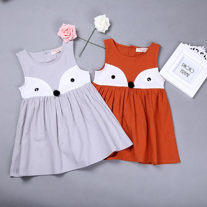 2017 girls dress 2016 summer fox cotton sleeveless baby