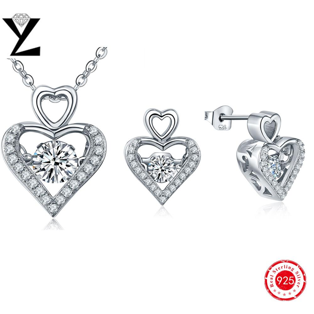 Argent 925 Silver Dancing Aaa Cz Diamond Necklace&earrings For Lovers  Wedding Bridal Jewelry Sets Wholesale Heart Women Accessories Dp09310d Dancing  Diamond