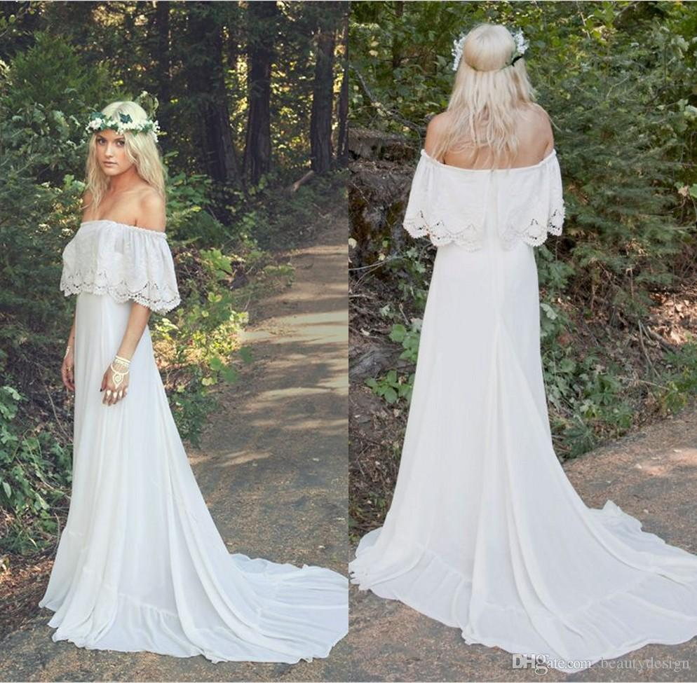 Discount 2016 vintage bohemian country wedding dresses for Vintage maternity wedding dresses