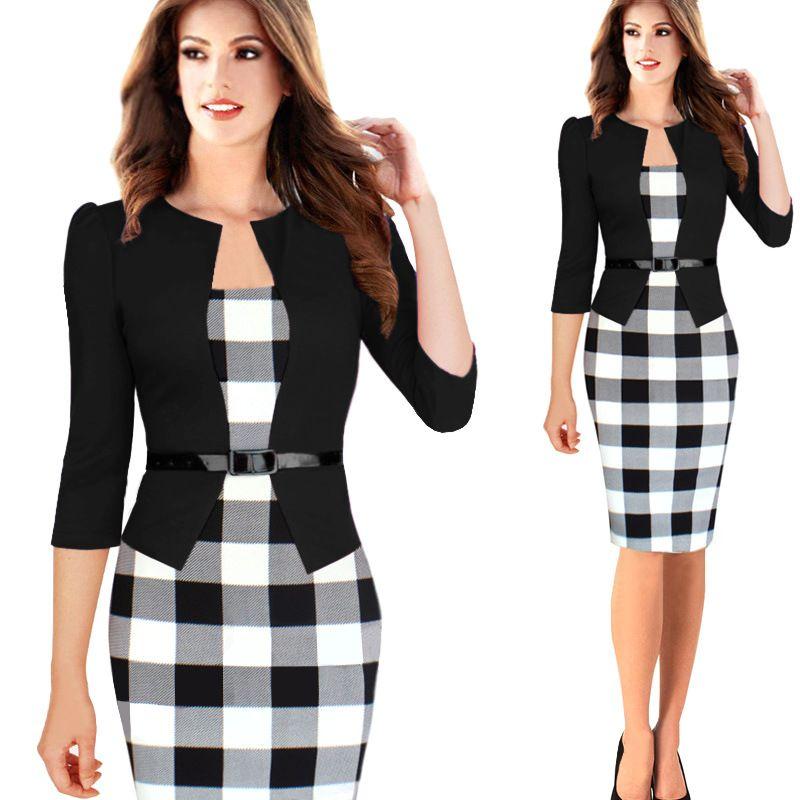 Fashion Women Clothes Evening Party Dress 3/4 Sleeve Ladies Slim ...
