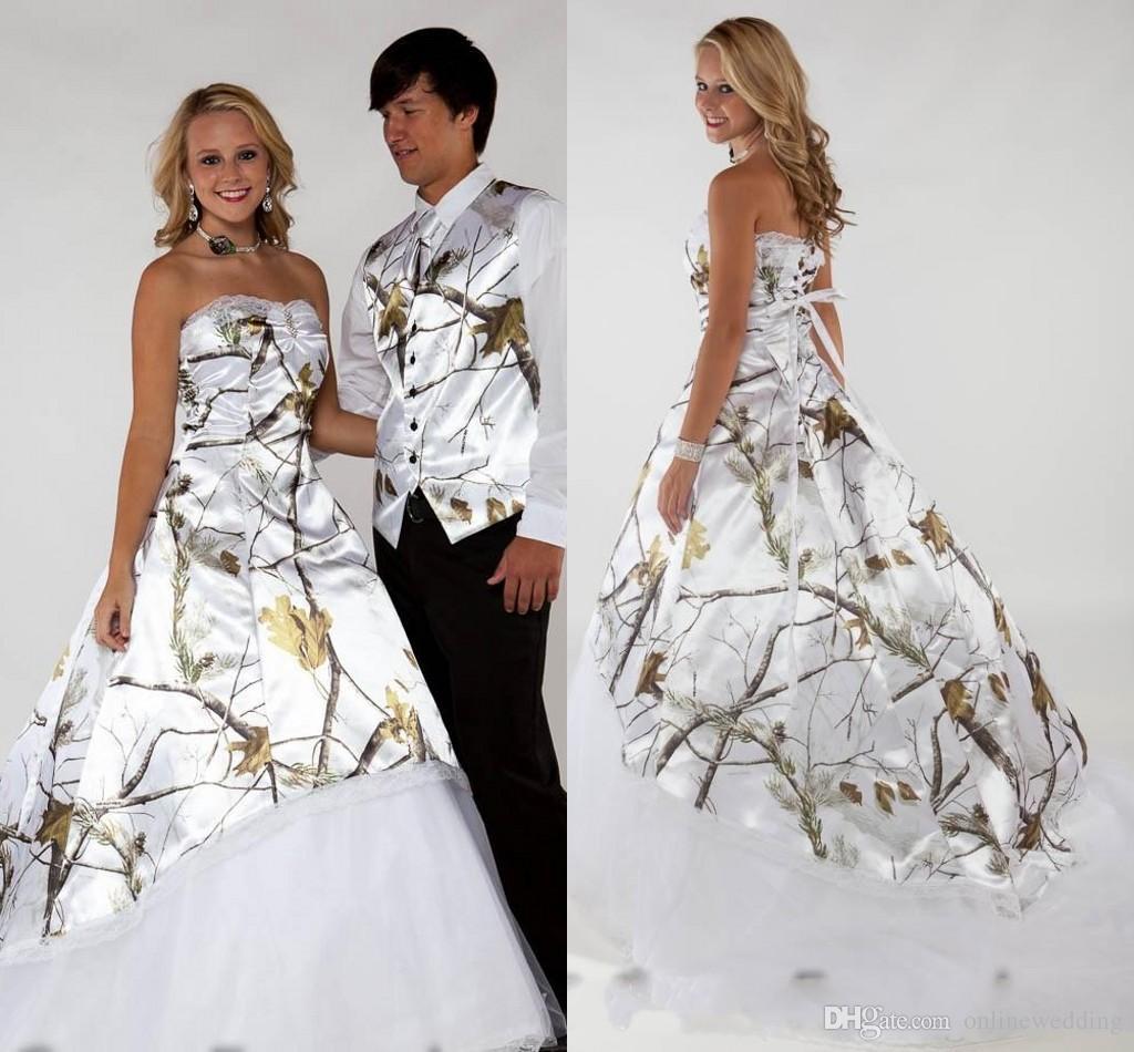 Discount 2016 camo wedding dresses white realtree for Camo ribbon for wedding dress