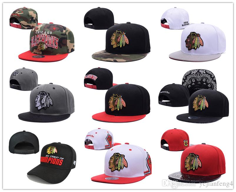 2015 Nouveau style Arrivé Chicago Blackhawks gorras planas Chapeau Adjustable Ba