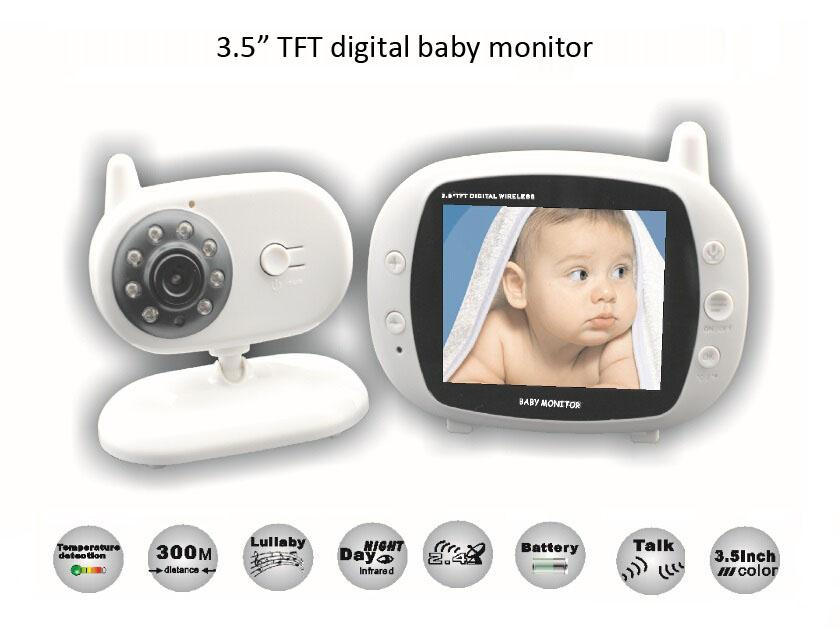 3 5 inch wireless audio video baby monitor security camera 2 way talk nigh vision ir led. Black Bedroom Furniture Sets. Home Design Ideas