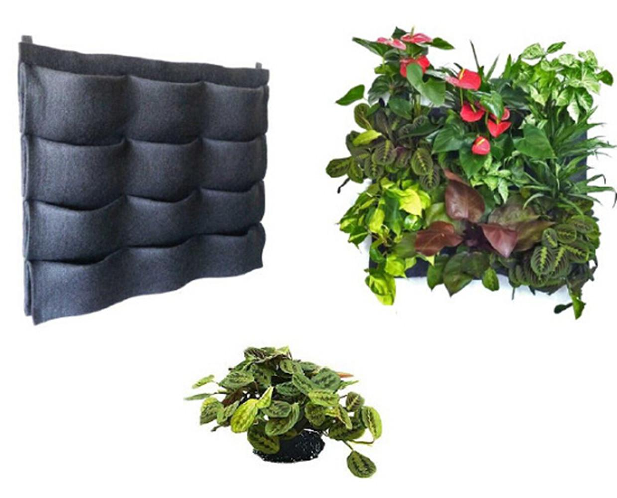 2017 12 Pocket Black Felt Vertical Planter Living Garden Wall