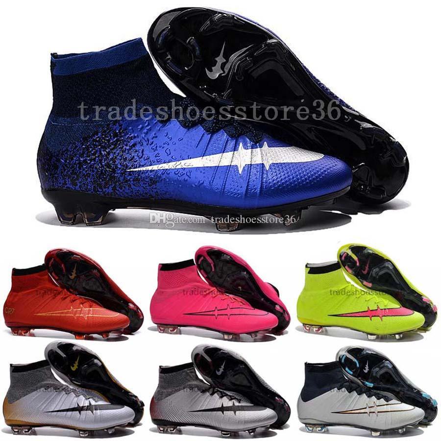 2017 2016 New Kids Soccer Shoes High Top Soccer Boots Botas De ...