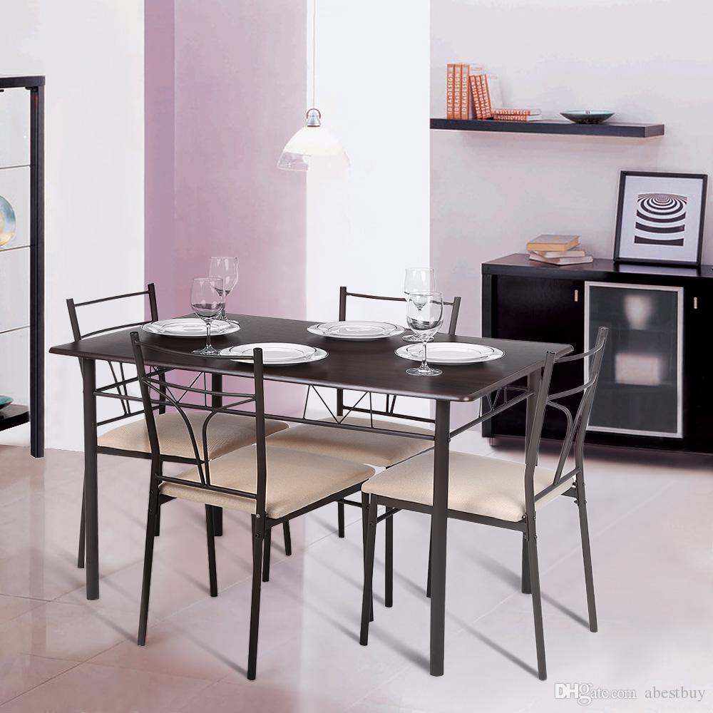 ikayaa modern metal frame dining kitchen table chairs set for   - see larger image