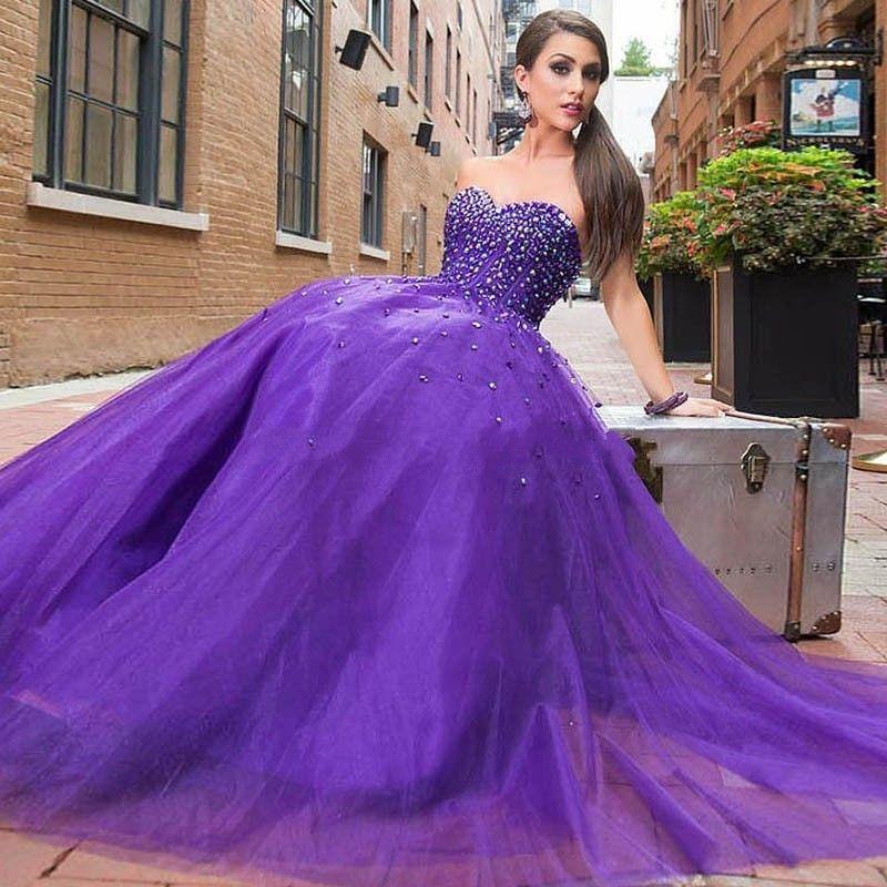 Design purple prom dresses 2017 a line handmade rhinestones party