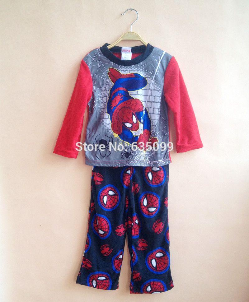 Baby Boys Brand Pajamas Kids Winter Fleece Sets Children Spider ...