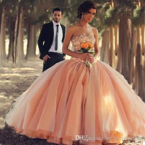 Unique Colored Blush Pink Champagne Ivory White Ball Gown Wedding ...