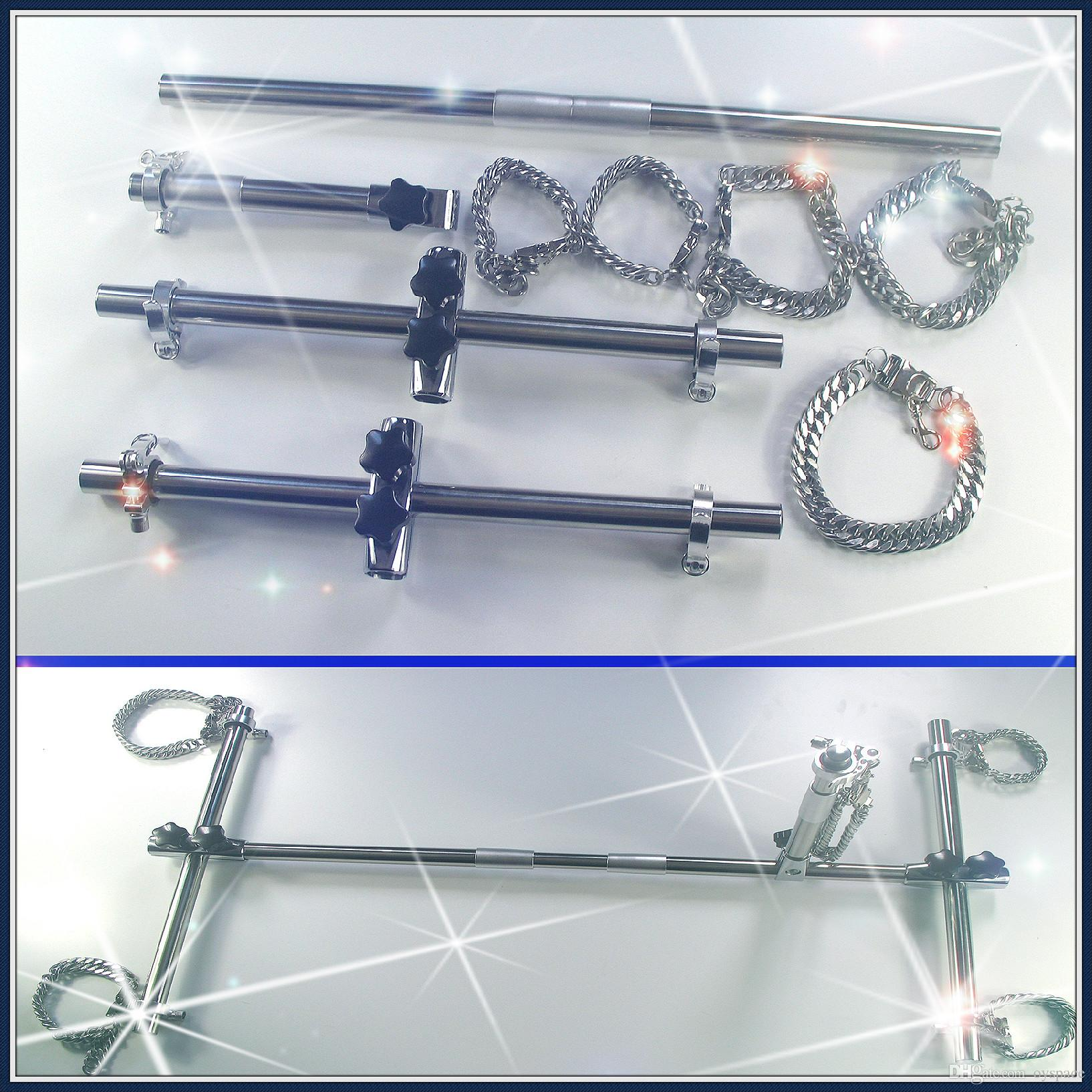 Portable Bondage Trainong Device With Stainless Steel Cuffs And Collar Stainless Steel Bondage