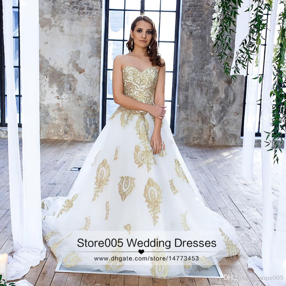 2016 gold and white lace wedding dresses ball gown for Dhgate wedding dresses 2016