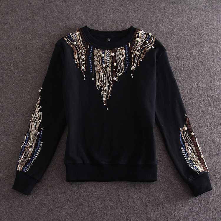 2016 autumn luxury embroidery beading paillette women sweatshirt