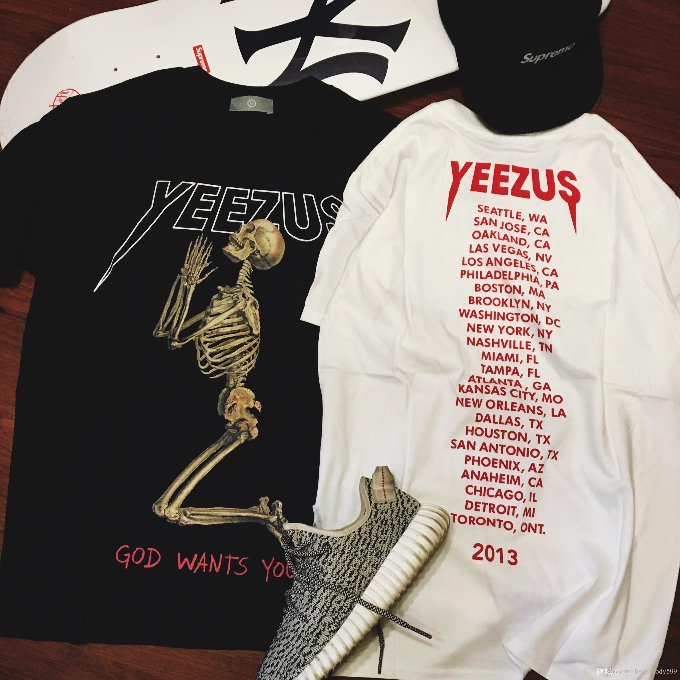 T shirt design york pa - 2016 Popular Yeezus Tour Short Sleeve T Shirt Skull Ghost Merch Indian Headdress T Shirt