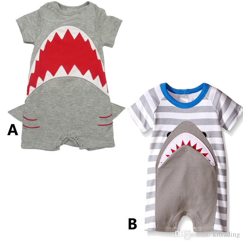 2017 Cute Shark Romper 2styles For Baby Boys Girls Short
