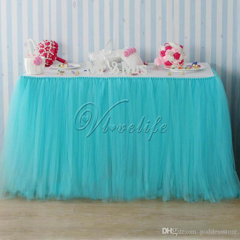 2017 100cm x 80cm light blue turquoise tulle tutu table