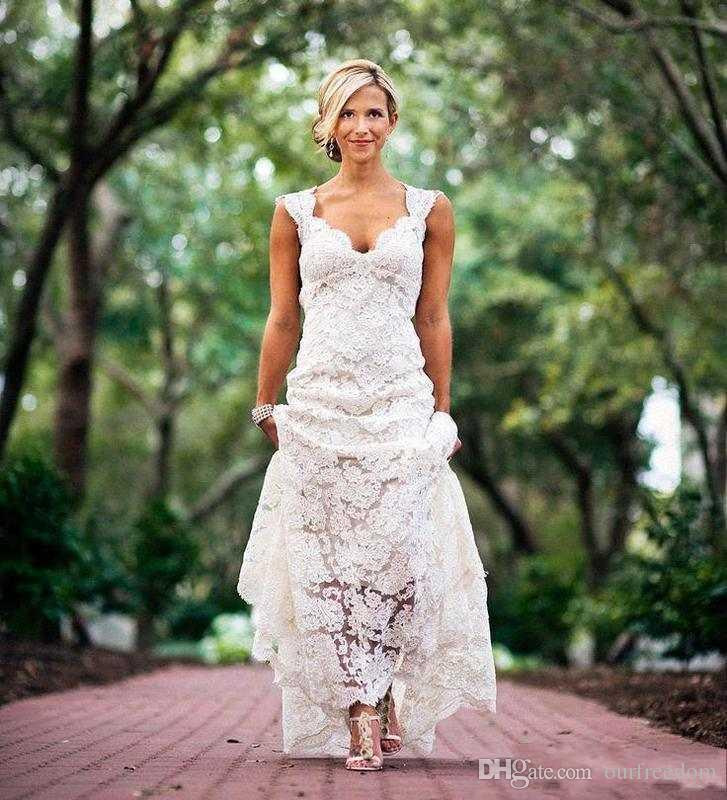 Inexpensive Chic Wedding Dresses : Chic rustic full lace wedding dresses cheap v neck hollow back