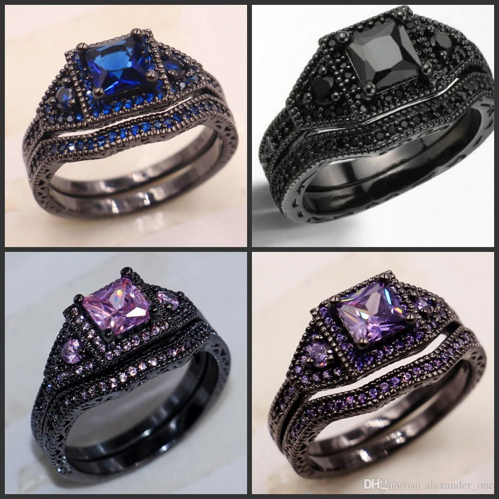 2016 black ring sets fashion lady pinkblackbluepurple cz gemstone rings - Black And Pink Wedding Ring Sets
