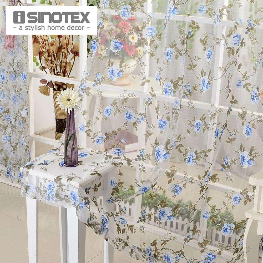 Sheer blue window curtains - 100 Polyester Woven Window Isinotex Blue Floral Window Curtain Fabric Living Room Transparent Burnout Sheer