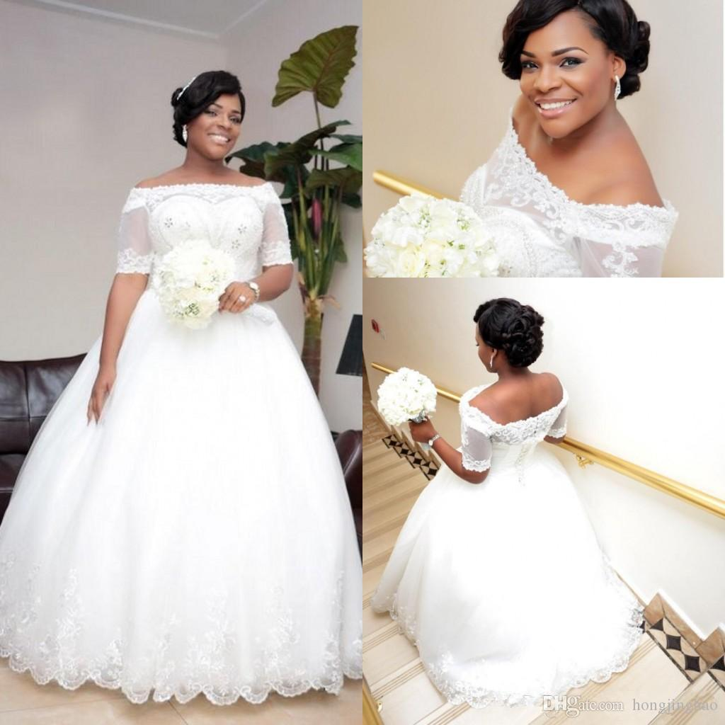 Plus Size African Wedding Dresses Short Sleeves f the