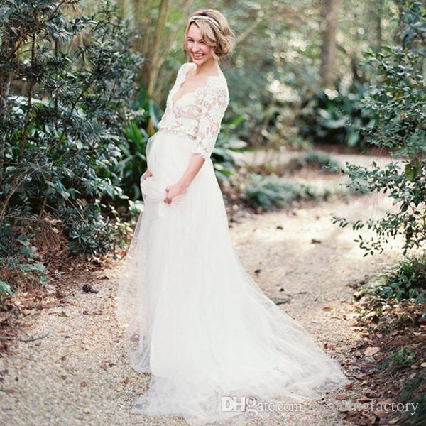 2016 charming maternity wedding dresses country deep v for Custom made wedding dresses nyc
