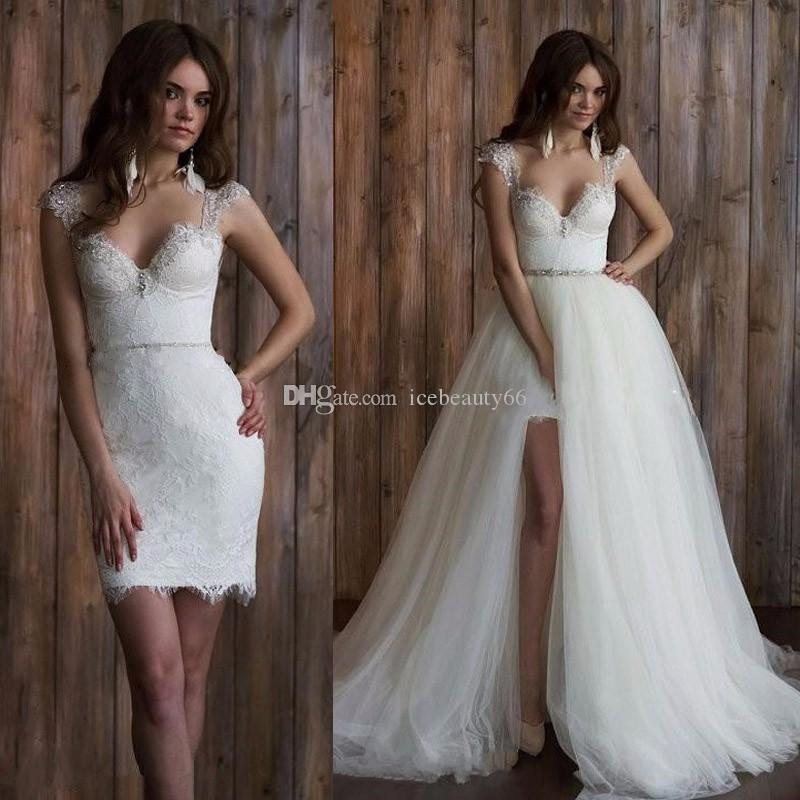 Discount vintage lace detachable skirt wedding dress long for Wedding dress with removable train