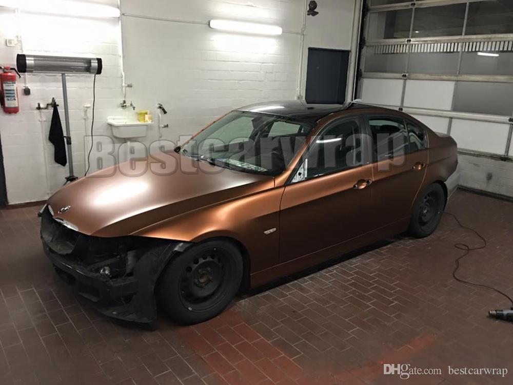 Car Vinyl Wrap Cost >> Copper Metallic Matte Chrome Vinyl Car Wrap Film With Air Channels Coffe Metallic Matt for Car ...