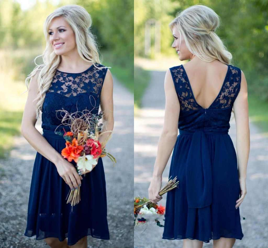2016 New Navy Blue Country Style Bridesmaid Dresses Short