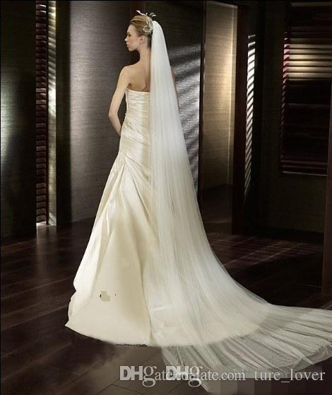 Cheap Bridal Wedding Veils 3m Two Layers White Ivory Bridal Veils With Comb Long Simple Tulle