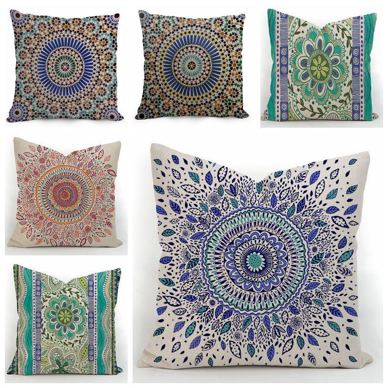 Elegant Mandala Cushion Cover Indian Ethnic Throw Pillow Case Sofa Chair Cojines Bohemian Almofada Boho Home