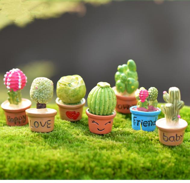 Cute 7 Designs Cactus Flower Pot Fairy Garden Miniatures